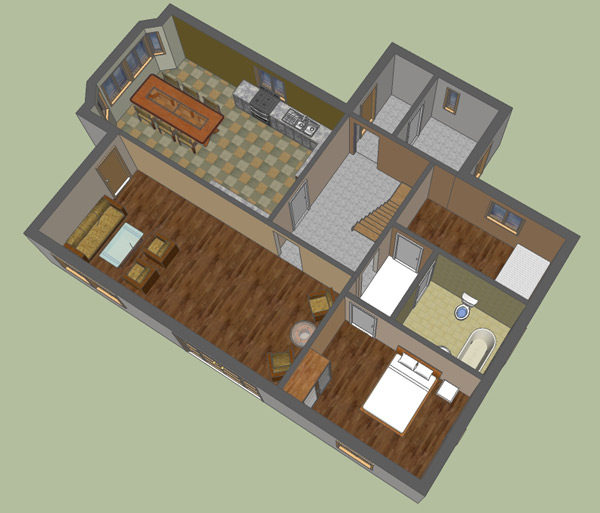 Google sketchup 3d floor plan google sketchup 3d for Floor plans in sketchup