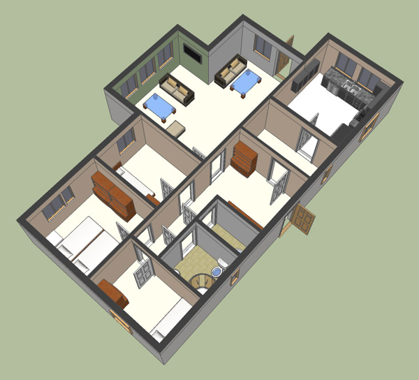 How to make a house plan in 3d using google sketchup for Google house design