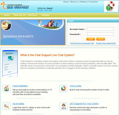 free website chat support spiels